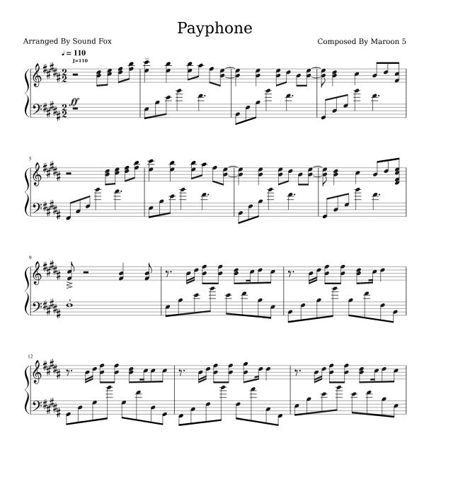 Maroon 5 Wiz Khalifa Payphone Sheet Music For Piano Download Piano Solo Sku Pso0011456 At Note Store Com