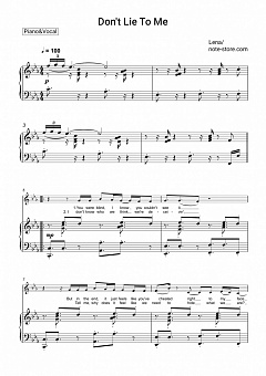 Lena - Don't Lie To Me piano sheet music