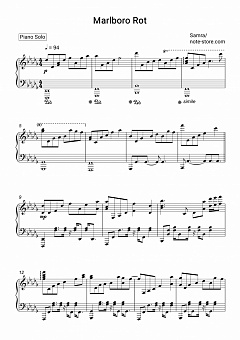 Samra - Marlboro Rot piano sheet music