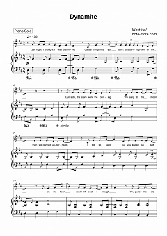 Westlife - Dynamite piano sheet music