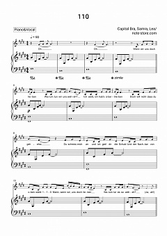 Capital Bra, Samra, Lea - 110 piano sheet music