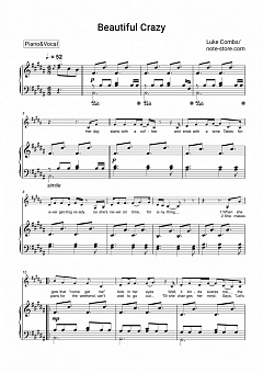 Luke Combs - Beautiful Crazy piano sheet music
