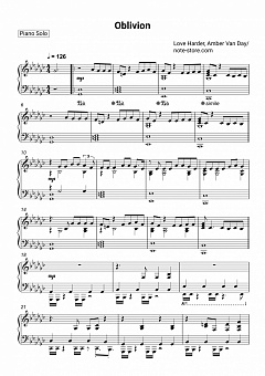 Love Harder, Amber Van Day - Oblivion piano sheet music
